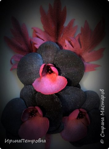 Черная орхидея из фоамирана. Брошь-заколка. фото 1