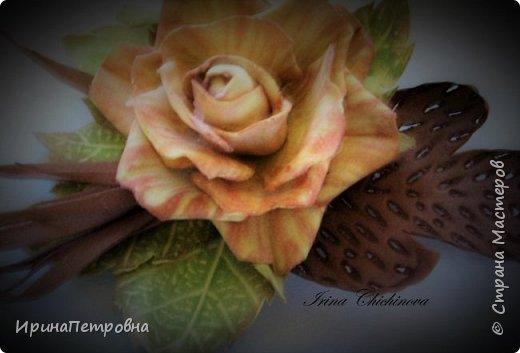 Черная орхидея из фоамирана. Брошь-заколка. фото 2