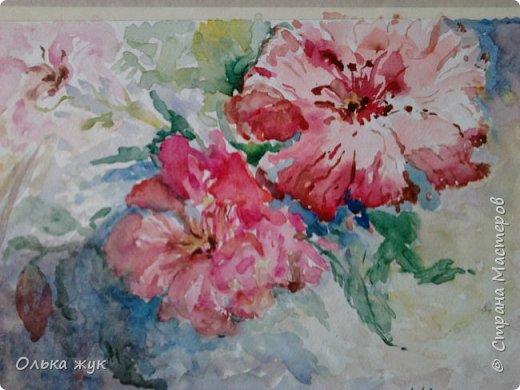 """Всем   Здоровья , Добра и Мира!!!!   Приглашаю посмотреть  работу акварелью. """"Пестрые цветы"""". фото 3"""