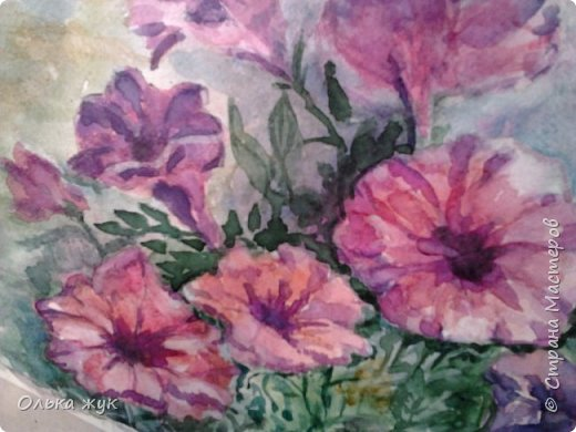 """Всем   Здоровья , Добра и Мира!!!!   Приглашаю посмотреть  работу акварелью. """"Пестрые цветы"""". фото 5"""