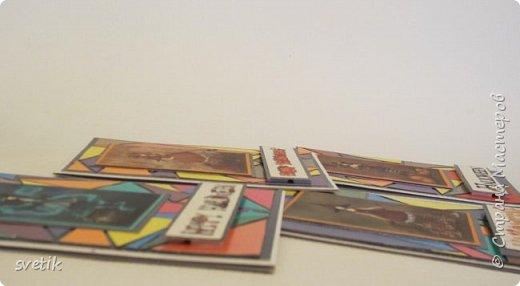 """На улице весна, почти лето, а у меня осенние открытки... как всегда, в конце года дети отдают """"лишнее"""", оставшееся от уроков труда. В данном случае картон для детского творчества..точнее, остатки картона..Оказалось много черных листов..Как всегда, выкинуть жалко..погуляла по любимой стране и нашла замечательный альбом, но большее всего """"зацепила"""" обложка.. http://stranamasterov.ru/node/1012340?c=favorite_1398 То, что нужно! два дня резала треугольнички и клеила..для чего сама не знала) Потом на глаза попались чудесные картинки с ведьмочками..то, что получилось показываю вам.. оговорюсь, что Хеллуин не признаю, но подрастающее поколение отмечает его уже не первый год.. фото 6"""