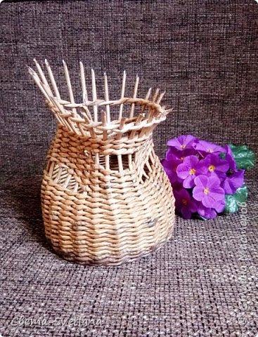 Давно хотела что-нибудь этакое сплести :). Мятая ваза, которую первый зритель обозвал сапожком. Я против!! фото 4