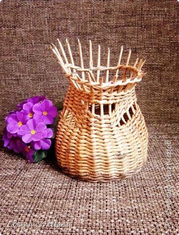Давно хотела что-нибудь этакое сплести :). Мятая ваза, которую первый зритель обозвал сапожком. Я против!! фото 1