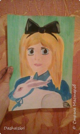 """Здравствуй, Страна! Сегодня у меня опять рисунок. Но на этот раз на конкурс """" Диснеевские персонажи в аниме""""      Хоть аниме я не люблю и им не увлекаюсь этот конкурс меня заинтересовал. В общем это Алиса с белым кроликом, нарисована она гуашью на акварельной бумаге. фото 1"""