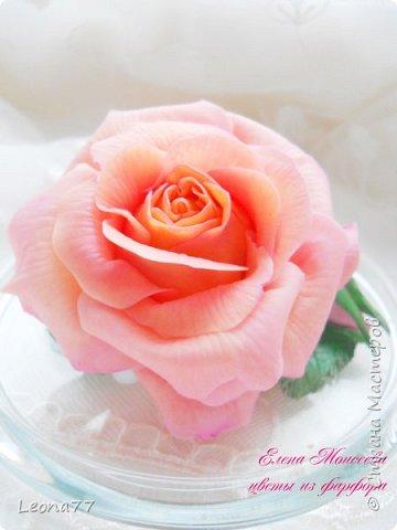 Вот еще моя работа из холодного фарфора. Люблю лепить розы,недаром она считается королевой цветов.  фото 2