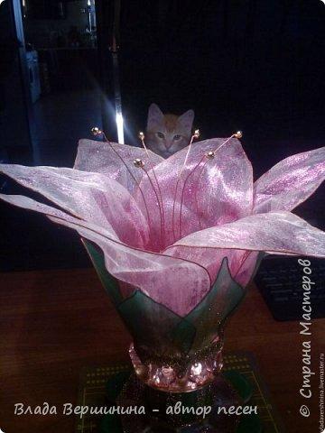 Волшебной красоты цветок (светильник) сделала фото 2