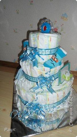 Срочно попросили сделать подарок на рождение малыша. Изобразила вот такой тортик. 3 яруса, памперсы использовала Pampers Premium Care 3 (5-9 кг) 60 шт.сворачивала веером. Ленты очень красивые одна голубая с надписями, вторая, как подложка морского цвета. Ну и детские мелочи погремушка носочки, шапочка и т.д. Упаковывала в слюду 2м*70 см. Сделала практически за 2 часа. фото 3