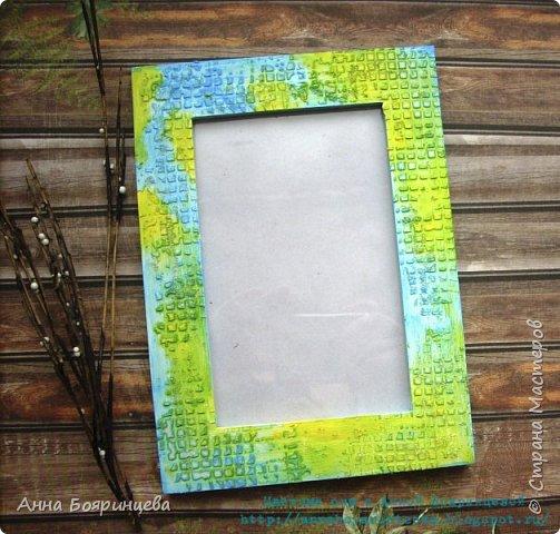 Всем привет!!! Еще одна рамочка созданная при помощи красок и текстурной пасты. Голубой и желтый. фото 1