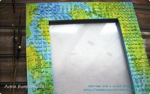 Всем привет!!! Еще одна рамочка созданная при помощи красок и текстурной пасты. Голубой и желтый. фото 2