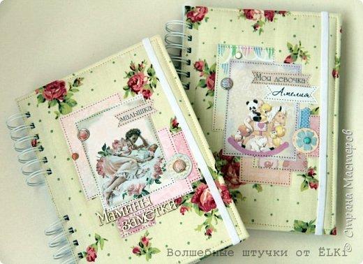 Решила показать ещё парочку работ, сделанных в последнее время.  Два прекрасных бебибука (книжки мамы и малыша) для двух прекрасных маленьких принцесс и их мам, моих дорогих подруг сложились у меня на одном дыхании. Книжки на пружине. Внутри около 100 цветных листов для записей от рождения до 6 лет. Я влюбилась в этих пухляшей, такие нежные получились, воздушные... фото 1