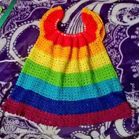 Давно мечтала связать доченьке кофточку в цвет радуги и наконец-то получилось осуществить желаемое фото 1