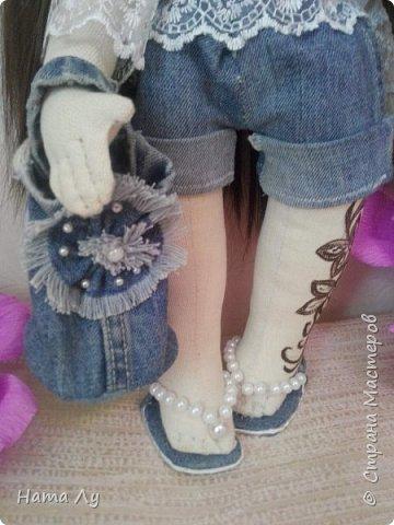 текстильная куколка КИРЮША!!!!Полностью ручная работа!!!Рост 45см,волосики можно расчесывать и делать разные прически.Личико расписано акриловыми красками и пастелью фото 4