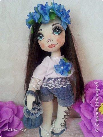 текстильная куколка КИРЮША!!!!Полностью ручная работа!!!Рост 45см,волосики можно расчесывать и делать разные прически.Личико расписано акриловыми красками и пастелью фото 6