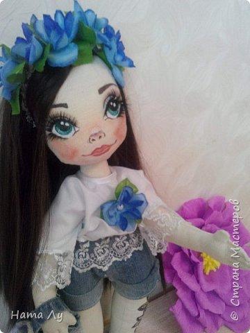текстильная куколка КИРЮША!!!!Полностью ручная работа!!!Рост 45см,волосики можно расчесывать и делать разные прически.Личико расписано акриловыми красками и пастелью фото 3