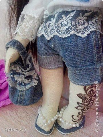 текстильная куколка КИРЮША!!!!Полностью ручная работа!!!Рост 45см,волосики можно расчесывать и делать разные прически.Личико расписано акриловыми красками и пастелью фото 5