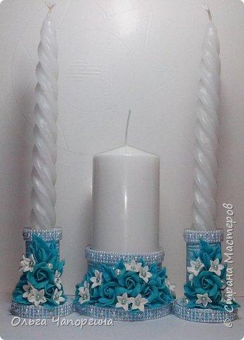 Добрый день, уважаемые коллеги. Представляю Вашему вниманию новую работу - свадебный набор аксессуаров в цвете тиффани, хотя на фото получился голубой. фото 2