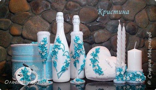 Добрый день, уважаемые коллеги. Представляю Вашему вниманию новую работу - свадебный набор аксессуаров в цвете тиффани, хотя на фото получился голубой. фото 9