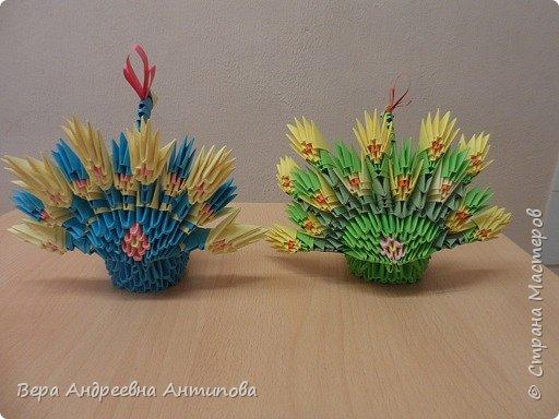 """На кружке """"Волшебный мир оригами"""" девочки пожелали  сверх программы сложить павлинов по книге Татьяны Николаевны Просняковой """"Забавные фигурки. Модульное оригами"""". Не могла отказать им в помощи и вот результат. фото 3"""
