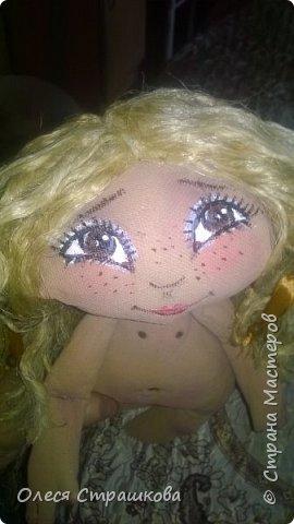 """""""Создав хотя бы одну куколку не возможно остановиться"""" . Мои девочки продолжают появляться на свет. Новенькая текстильная девочка. """"Джульетта"""", совсем не капризная. 35см. Стоит с опорой , не сидит. фото 5"""