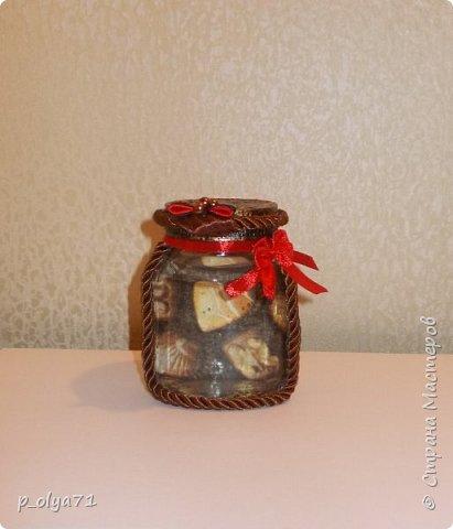 Здравствуйте!!  Думала,за бутылочки пока не возьмусь,но... нужно было сделать подарок,нашлась банка кофе...ну а уж салфетки,само собой,припасены)) А т.к. я не люблю делать по одной,набралось вот)) фото 9