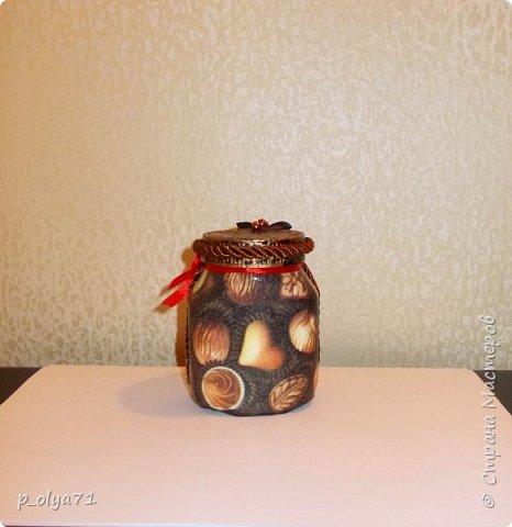Здравствуйте!!  Думала,за бутылочки пока не возьмусь,но... нужно было сделать подарок,нашлась банка кофе...ну а уж салфетки,само собой,припасены)) А т.к. я не люблю делать по одной,набралось вот)) фото 10