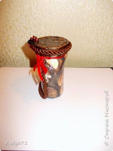 Здравствуйте!!  Думала,за бутылочки пока не возьмусь,но... нужно было сделать подарок,нашлась банка кофе...ну а уж салфетки,само собой,припасены)) А т.к. я не люблю делать по одной,набралось вот)) фото 13