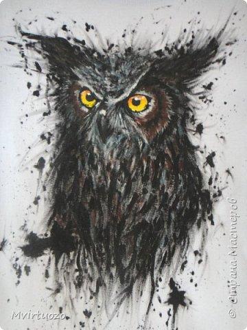 На просторах интернета нашла великолепные рисунки хорватского художника Dino Tomic (AtomiccircuS).  Вау!! только и могла сказать я и, захомячив эдакую красоту, принялась приобщаться, точнее сказать - повторюшничать. Вот что получилось: Сова! (или филин..) фото 1