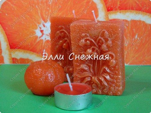 """Было у меня на днях """"апельсиновое настроение"""", так захотелось чего-то яркого, цитрусового. И сделала я вот такие свечи с эфирными маслами грейпфрута и красного апельсина. Аромат потрясающий! фото 1"""