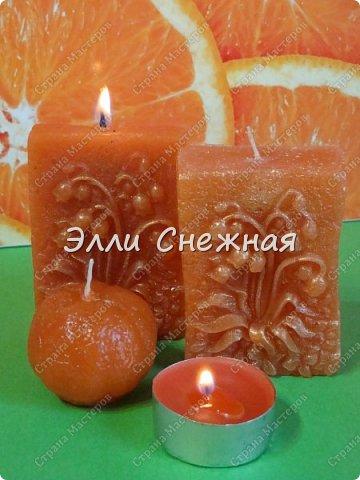 """Было у меня на днях """"апельсиновое настроение"""", так захотелось чего-то яркого, цитрусового. И сделала я вот такие свечи с эфирными маслами грейпфрута и красного апельсина. Аромат потрясающий! фото 2"""