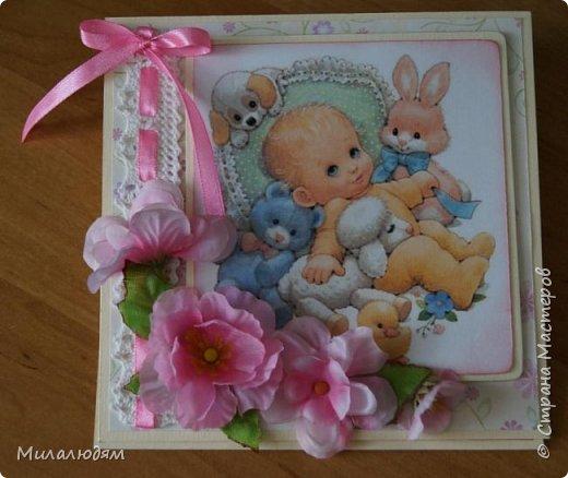 Всем здравствуйте! Продолжаю выкладывать апрельские работы. Две открытки на рождения малышей. У нас в коллективе бум на малышей, кто сам рожает, у кого внуки рождаются. фото 2