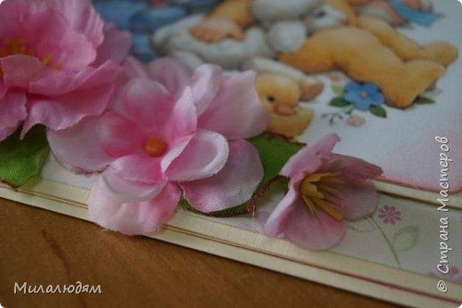 Всем здравствуйте! Продолжаю выкладывать апрельские работы. Две открытки на рождения малышей. У нас в коллективе бум на малышей, кто сам рожает, у кого внуки рождаются. фото 4