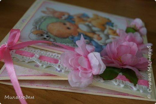 Всем здравствуйте! Продолжаю выкладывать апрельские работы. Две открытки на рождения малышей. У нас в коллективе бум на малышей, кто сам рожает, у кого внуки рождаются. фото 8