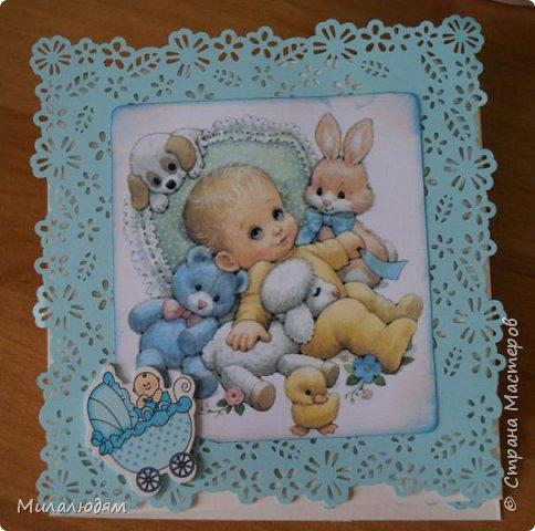 Всем здравствуйте! Продолжаю выкладывать апрельские работы. Две открытки на рождения малышей. У нас в коллективе бум на малышей, кто сам рожает, у кого внуки рождаются. фото 16