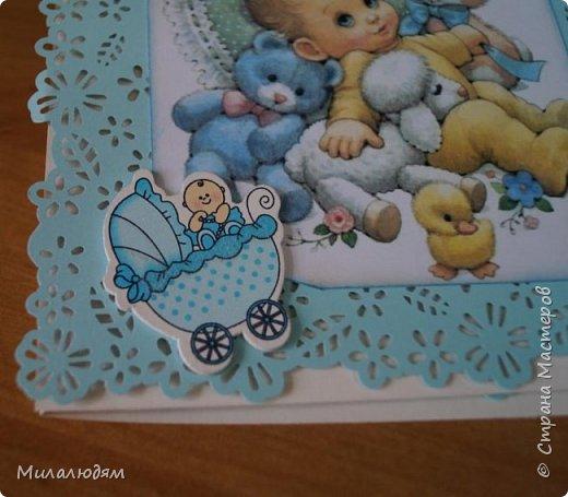 Всем здравствуйте! Продолжаю выкладывать апрельские работы. Две открытки на рождения малышей. У нас в коллективе бум на малышей, кто сам рожает, у кого внуки рождаются. фото 18