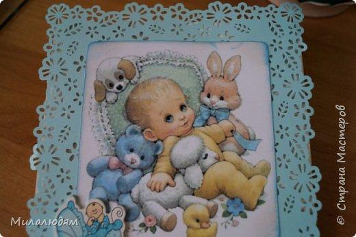 Всем здравствуйте! Продолжаю выкладывать апрельские работы. Две открытки на рождения малышей. У нас в коллективе бум на малышей, кто сам рожает, у кого внуки рождаются. фото 19
