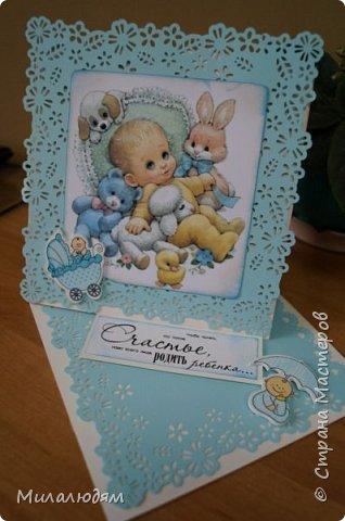 Всем здравствуйте! Продолжаю выкладывать апрельские работы. Две открытки на рождения малышей. У нас в коллективе бум на малышей, кто сам рожает, у кого внуки рождаются. фото 17