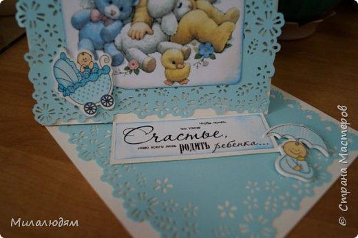 Всем здравствуйте! Продолжаю выкладывать апрельские работы. Две открытки на рождения малышей. У нас в коллективе бум на малышей, кто сам рожает, у кого внуки рождаются. фото 20