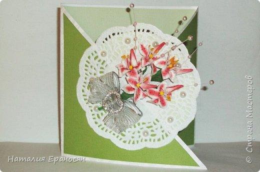На свадьбу друзьям детей. Попросили сделать открытку в зеленых тонах. фото 1
