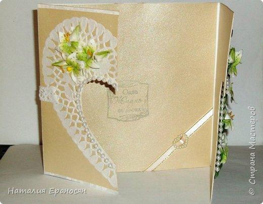 На свадьбу друзьям детей. Попросили сделать открытку в зеленых тонах. фото 5