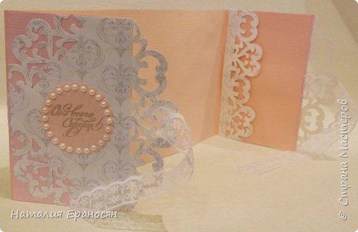 На свадьбу друзьям детей. Попросили сделать открытку в зеленых тонах. фото 8