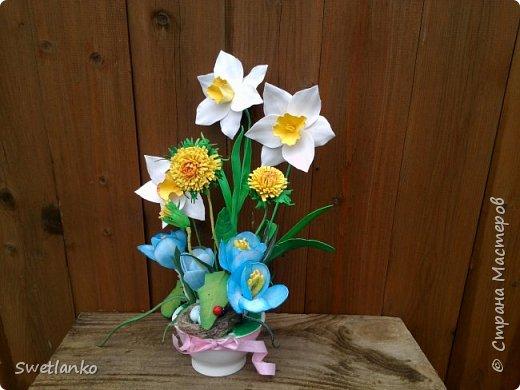 Весна на исходе, а я к вам со своими запоздалыми работами. Фотограф из меня никудышный, ну уж как получилось:-)   Вот такая поставка для пасхальных яиц, повторюшка идеи http://stranamasterov.ru/node/580950. фото 9