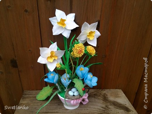 Весна на исходе, а я к вам со своими запоздалыми работами. Фотограф из меня никудышный, ну уж как получилось:-)   Вот такая поставка для пасхальных яиц, повторюшка идеи http://stranamasterov.ru/node/580950. фото 8
