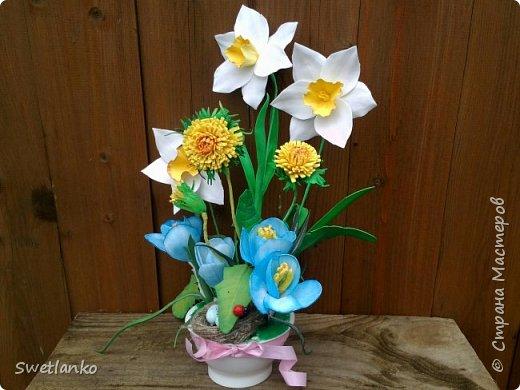 Весна на исходе, а я к вам со своими запоздалыми работами. Фотограф из меня никудышный, ну уж как получилось:-)   Вот такая поставка для пасхальных яиц, повторюшка идеи http://stranamasterov.ru/node/580950. фото 7