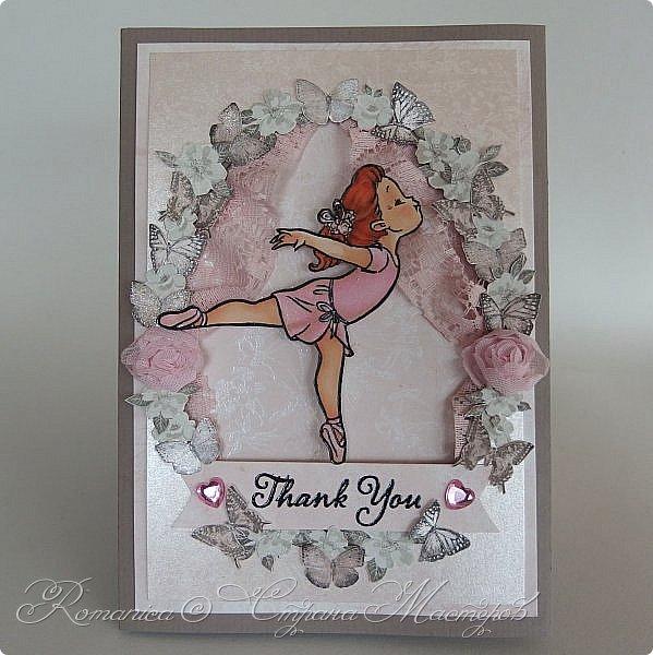 Всем доброго времени суток! Еще одна открытка для учителя, балетной школы на этот раз. Использовала набор очаровательной бумаги с перламутром, текстурами.  И новый штампб раскрашенный алкогольными маркерами. фото 4