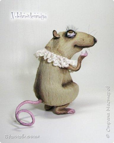 """Внезапно, Софочку посетила гениальная мысль: """"А не пора ли мне кого-то осчастливить?! Ведь хороша, с какой стороны не посмотреть... И таки да! В августе будет свадьба! Букет уже есть, осталось дело за малым - найти жениха и... подарить ему себя!  Крыса Софочка пошита из вискозы. Голова крепится шплинтом. Лапки и хвост - на проволочном каркасе. Уши, веки и нос сделаны из натуральной кожи. Тонировка сделана акриловыми красками. Высота Софочки - 14.5 см. Глаза очень красивые, выразительные, с живым взглядом! фото 3"""