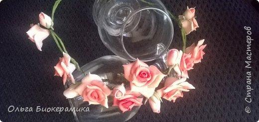 Венок для невесты из холодного фарфора. В составе 9 роз и 6 бутонов. фото 5