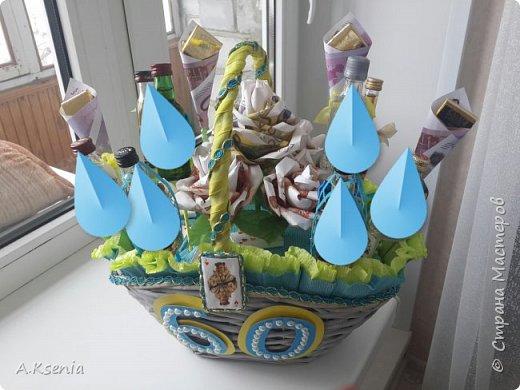 Вот такая оригинальная корзина у меня получилась. Здесь есть бутылочки,  шоколадки в виде слитков и карт, и денежные розы. (Названия бутылочек залеплены по просьбе модераторов). фото 1