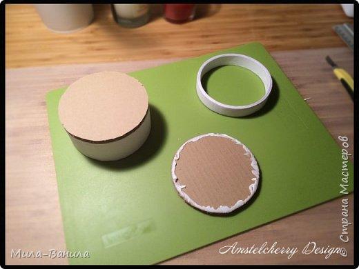 """Сегодня буду описывать второй способ изготовления донышка, для заготовки из папье-маше. Он проще и быстрее, поэтому, в основном, я его и применяю. Единственный минус это наличие самого материала, я знаю, что не у всех он бывает в свободном доступе. Я занимаюсь поделками из картона регулярно, поэтому специально заказываю хороший толстый картон. В теории, можно использовать гофрокартон любой толщины, просто делать несколько слоев, например, склеивать их на жидкие гвозди, т.к. они не размачивают бумагу.  В своих работах я использую картон, толщиной 7 мм.  Основание для шкатулки http://stranamasterov.ru/node/1020158 Крышка для шкатулки http://stranamasterov.ru/node/1021660 Донышко для шкатулки из акварельной бумаги http://stranamasterov.ru/node/1028952 По данной технологии я сделала шкатулку """"Озорной купидон"""", приглашаю посмотреть здесь http://stranamasterov.ru/node/1016178 Итак, приступаем. фото 17"""