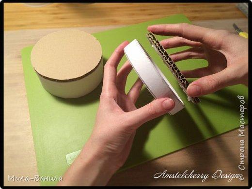 """Сегодня буду описывать второй способ изготовления донышка, для заготовки из папье-маше. Он проще и быстрее, поэтому, в основном, я его и применяю. Единственный минус это наличие самого материала, я знаю, что не у всех он бывает в свободном доступе. Я занимаюсь поделками из картона регулярно, поэтому специально заказываю хороший толстый картон. В теории, можно использовать гофрокартон любой толщины, просто делать несколько слоев, например, склеивать их на жидкие гвозди, т.к. они не размачивают бумагу.  В своих работах я использую картон, толщиной 7 мм.  Основание для шкатулки http://stranamasterov.ru/node/1020158 Крышка для шкатулки http://stranamasterov.ru/node/1021660 Донышко для шкатулки из акварельной бумаги http://stranamasterov.ru/node/1028952 По данной технологии я сделала шкатулку """"Озорной купидон"""", приглашаю посмотреть здесь http://stranamasterov.ru/node/1016178 Итак, приступаем. фото 18"""