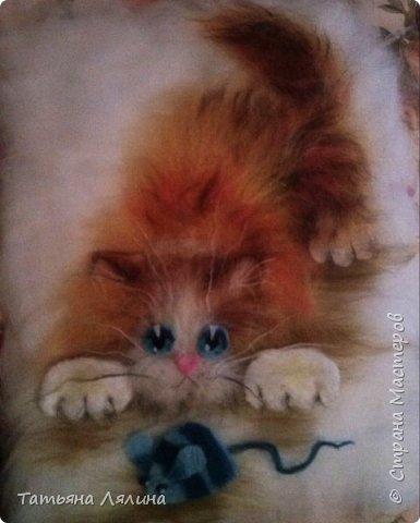 Давненько не работала с шерстью, под настроение родился вот такой забавный котик фото 1